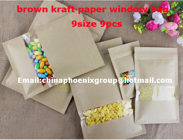 9 different size brown kraft paper window bag, zip paper bag for Food Storage 9pcs free shipping