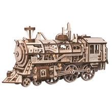 Горячие популярные творческие механические шестерни 3D деревянные головоломки для детей движение собраны локомотив паровой стебель подарок