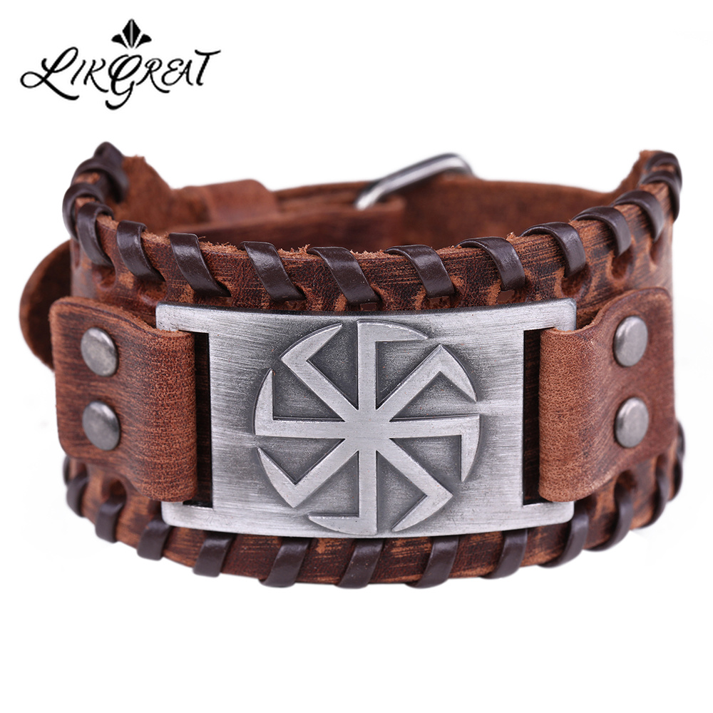 LIKGREAT Slavic Sun Wheel Kolovrat Talisman Charm Bracelets Leather Wrap Cuff Bracelet for Man Women Wicca Jewelry Accessories