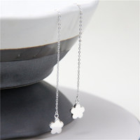 JINSE Hot Fashion Simple Designer Handmade Flower Shaped Hoop Wire Earrings With Shell Pearls For Women