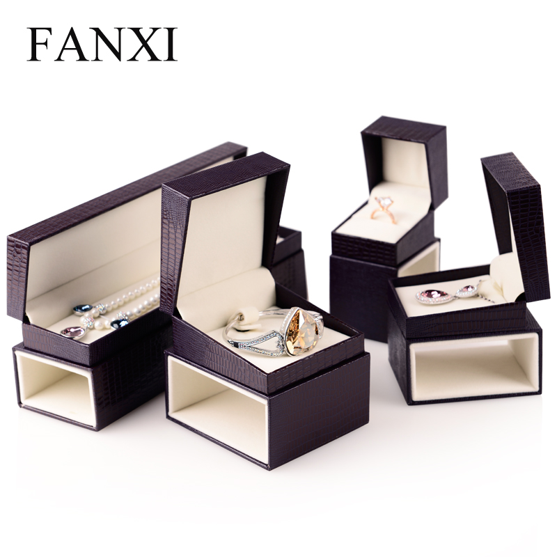 FANXI Purple Red Color Leatherette Paper Jewelry Box Gift
