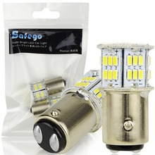 Safego 2pcs 1157 BAY15D LED Bulb P21/5W Car Reverse Rear Turn Signal Parking Light 2057 2357 54 SMD 3014 White Lamp 6000K 12V