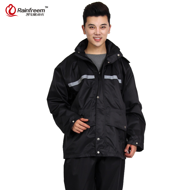 Rainfreem Brand Impermeable Raincoat Women Men Jacket Pants Set Adult Rain Poncho Thick Police Rain Gear