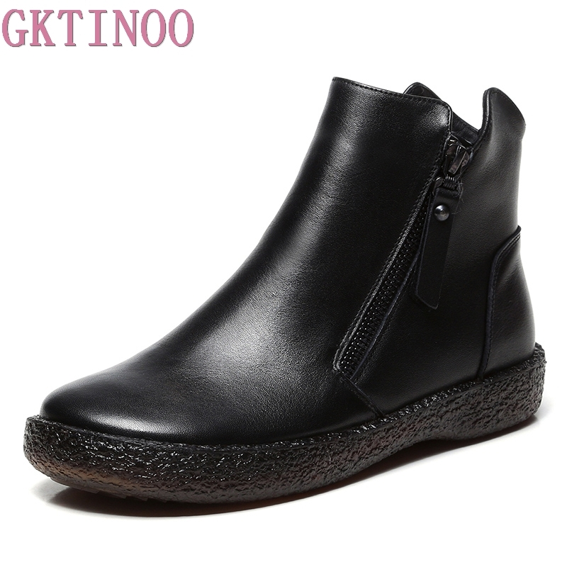 все цены на GKTINOO Fashion Handmade Shoes For Women 100% Genuine Leather Ankle Boots Vintage Flat Women Shoes Round Toes Martin Boots онлайн