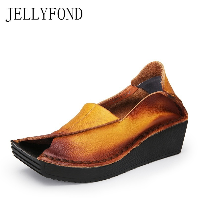 Designer Women Sandals 2018 Handmade Genuine Leather Peep Toe Platform Creepers Wedge Sandals High Heels Summer Shoes Woman jellyfond brand sandals women genuine leather summer shoes woman peep toe slingback platform wedge high heels gladiator sandals