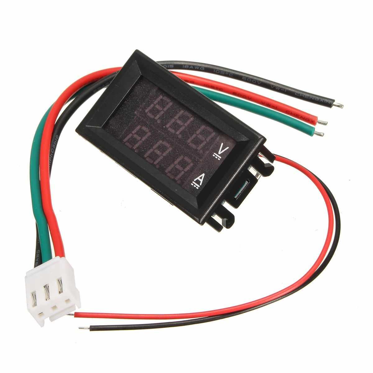 Mini voltmètre numérique ampèremètre bleu + rouge LED panneau Amp double voltmètre numérique jauge courant de tension DC 100 V 10A