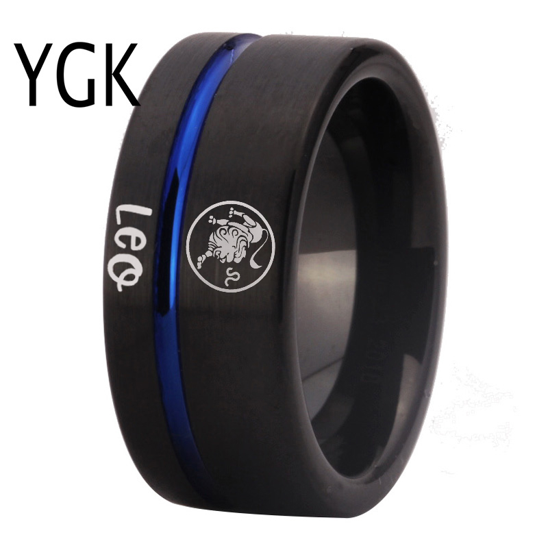 Fashion Rings Leo Zodiac Jewelry Mens Lion Design Ring Women Girls Black Blue Line Tungsten Carbide Wedding Ring EngagementRings   -