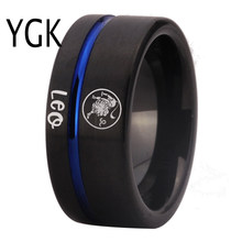 Fashion Rings Leo Zodiac Jewelry Men's Lion Design Ring Women Girls Black Blue Line Tungsten Carbide Wedding Ring Engagement(China)