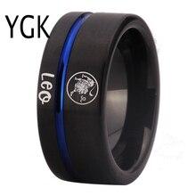 Moda pierścionki Leo Zodiac biżuteria męska lew projekt pierścień kobiety dziewczyny czarny niebieski linii z węglika wolframu pierścień pierścionek zaręczynowy ślubne