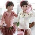 2016 Novas crianças meninas do bebê cardigan primavera outono top coat camisola com flor Criança outerwear Top Quality