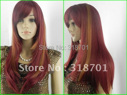 (Free Shipping) New Fashion Long Straight hair wigs Wine red Hair Wig