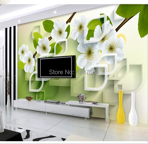 Buy any size 3d flowers custom 3d mural wall paper large mural wallpaper for Flower wallpaper for living room
