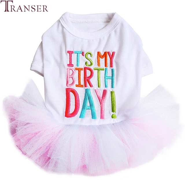 Free Shipping Pet Supply Embroidery IT'S MY BIRTHDAY Mesh Lace Dog Tutu Dress 80717