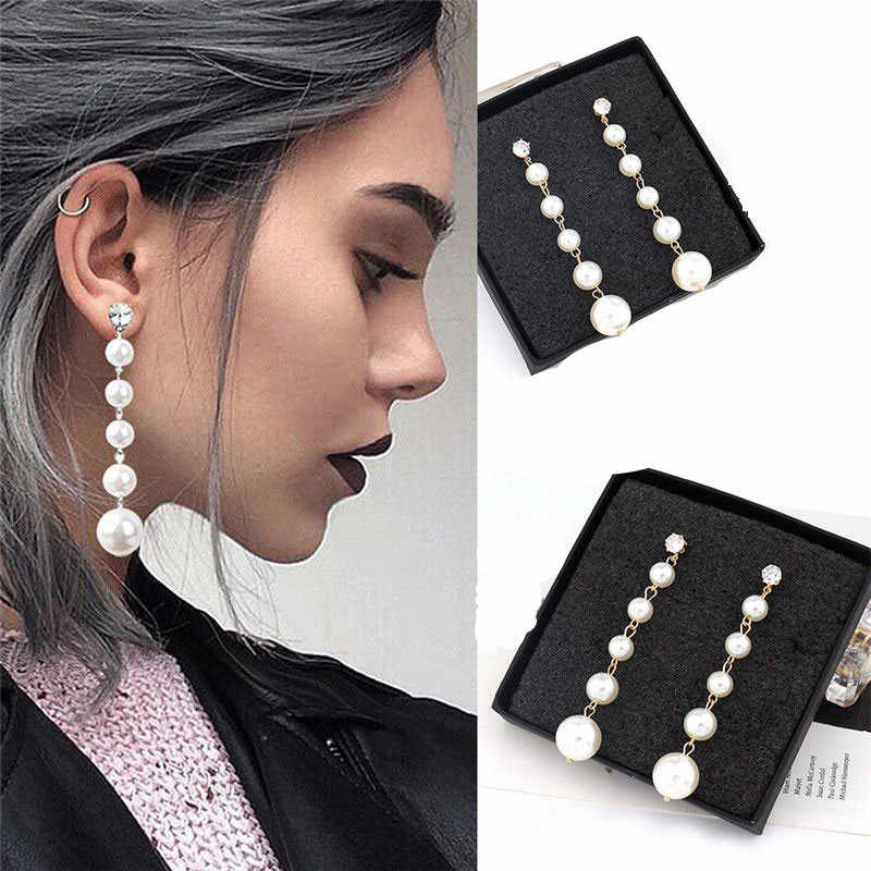 Elegant Womens Party Big  Drop Dangle Pierced Stud Long Earrings JEWELRY BLACK