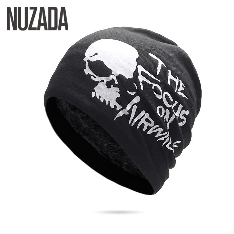 NUZADA Winter Hats For Men Women Skullies Beanie Hat Hedging Cap Men's Plus Fluff Double Layer Fabric Warm Winter Caps Beanies