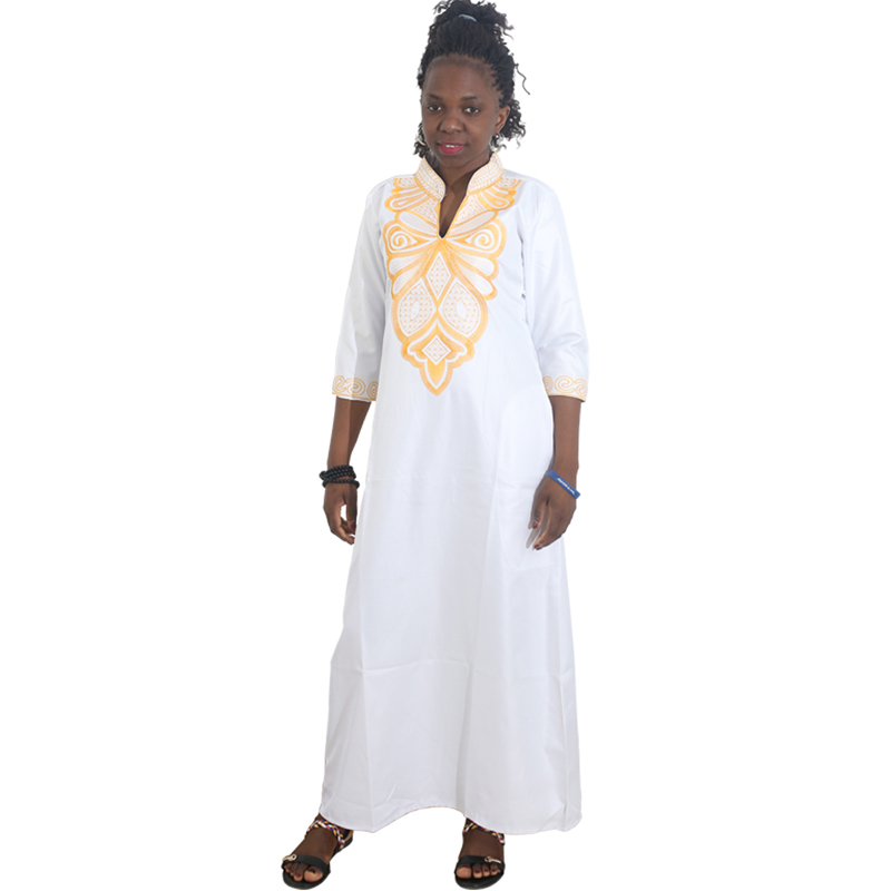 MD Dashiki African Dresses For Women Plus Size African Kaftan Bazin Riche African Print Clothing Womens Maxi Dress White Pink