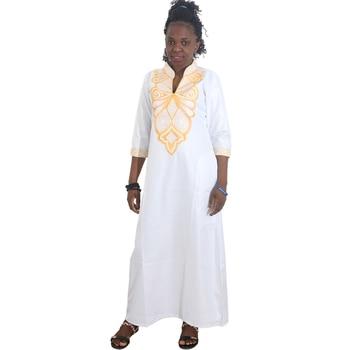 MD dashiki african dresses for women plus size kaftan bazin riche print clothing womens maxi dress white pink