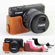 Новинка PU кожа Половина чехол для canon eos M10/M100 Цифровые зеркальные камеры eos M100 Камера коричневый/черный/Кофе