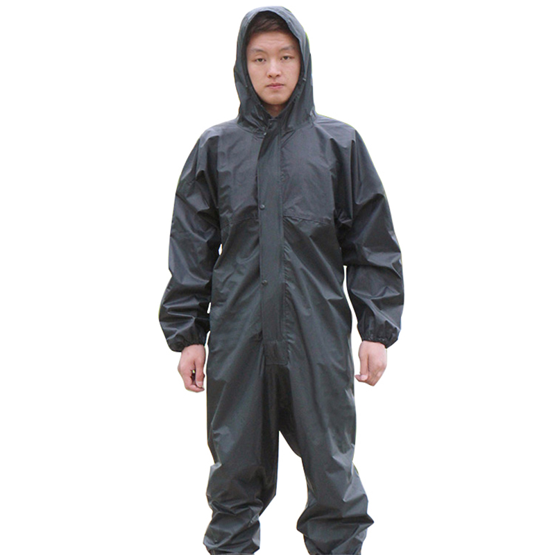 Working Coveralls Waterproof Hooded Raincoat Overalls Anti-oily Dust-proof Paint Spray Clothing Hood Protective Work Clothes
