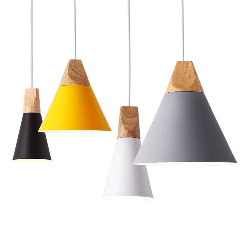 Pendant Lights Modern Wood Pendant Lamp Nordic Light For Cafe Restaurant Bedroom Hanglamp Kitchen Colorful Suspension Luminaire