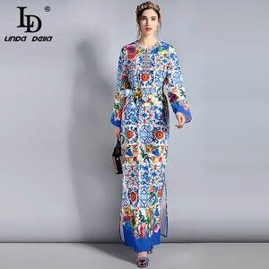 bd5d53519 LD LINDA DELLA Maxi Dress Plus Size Women's Long Sleeve