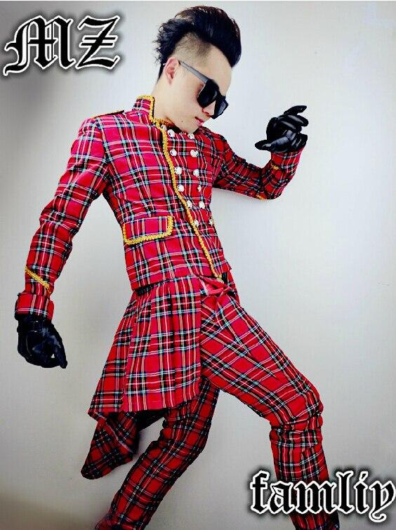 36bc2fb23b22 2018 DJ hommes de Marque de mode Écossais plaid rouge stade chanteur  costumes Hommes Chanteur costume costume top vêtements manteau S-5XL