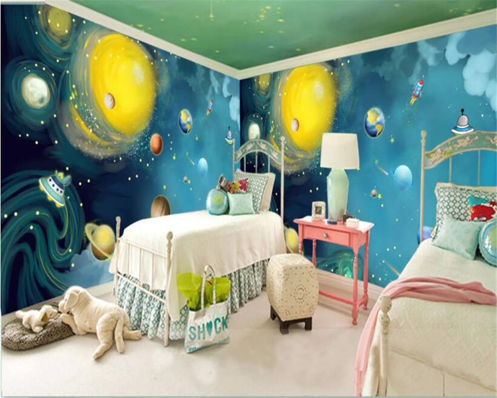 Beibehang Custom wallpaper cartoon hand painted space universe children bedroom bedroom large backdrop wallpaper for walls 3 d custom baby wallpaper snow white and the seven dwarfs bedroom for the children s room mural backdrop stereoscopic 3d