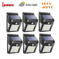 1/6pcs 30/40 LED Solar Powered Light PIR Motion Sensor Rechargeable LED Solar Wall Light Outdoor Waterproof Garden Yard Lamps