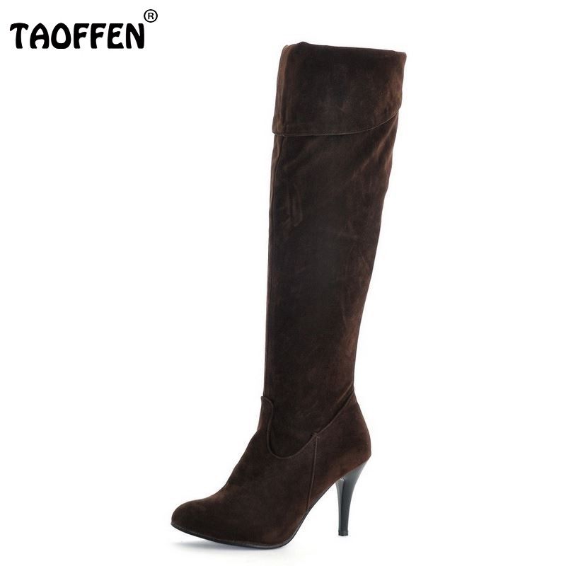 TAOFFEN Size 34-47 Women High Heel Over Knee Boots Ladies Riding Fashion Long Snow Boot  Winter Botas Heels Footwear Shoes P1318 taoffen free shipping ankle boots women fashion short boot winter footwear high heel shoes sexy snow warm p8710 eur size 34 39