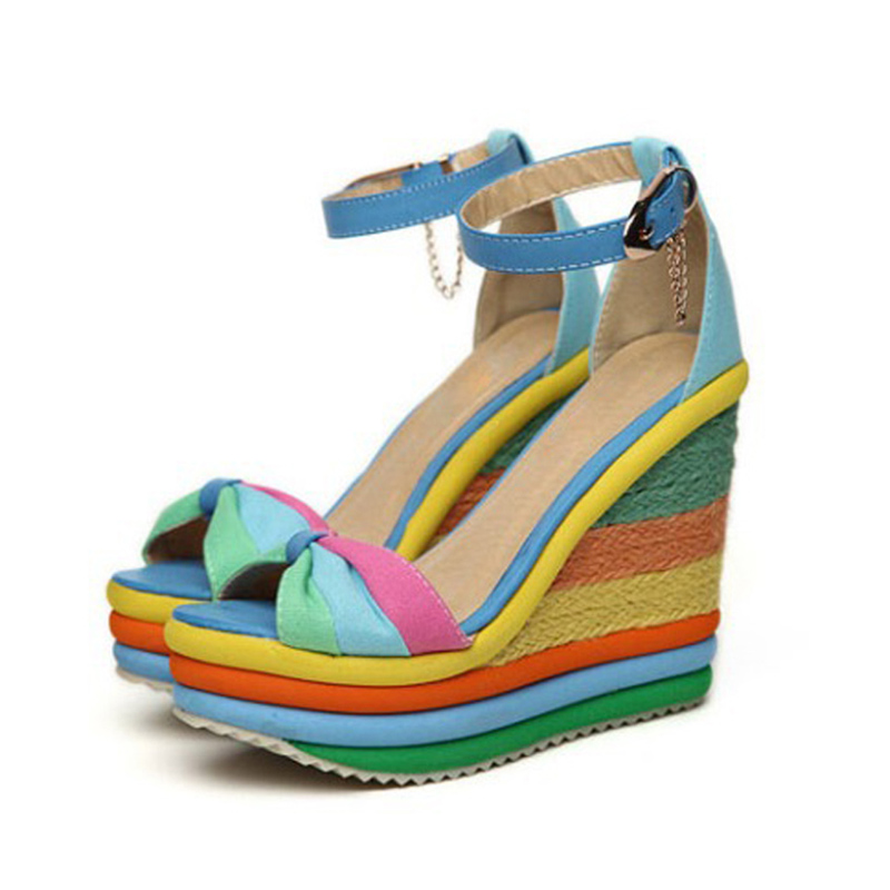 22576c1f9d8 Women Wedges Sandals Rainbow Color Platform Wedge Heel Bohemia Casual  Summer High Heels Sandals Peep Toe Buckle Shoes Woman F84
