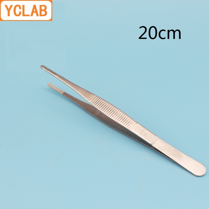 YCLAB 20cm Straight Tweezers Stainless Steel Plier Carbon Steel With Teeth Laboratory Medical Household Dressing