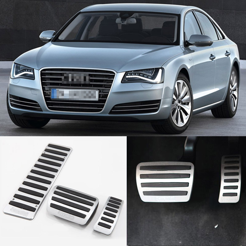 Brand New 3pcs Aluminium Non Slip Foot Rest Fuel Gas Brake Pedal Cover For Audi A8 AT 2011-2016 brand new 2pcs aluminium non slip foot rest fuel gas brake pedal cover for hyundai sonata 8th at 2011 2015