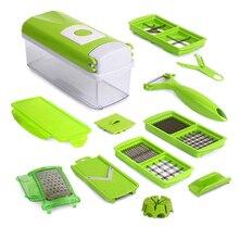Heißer Verkauf Hause Küche 12 STÜCKE/1 Satz Multifunktions Gemüse Schredder Maschine Obst Gerät Hobel Cutter Gewürfelte Grün Artefakt