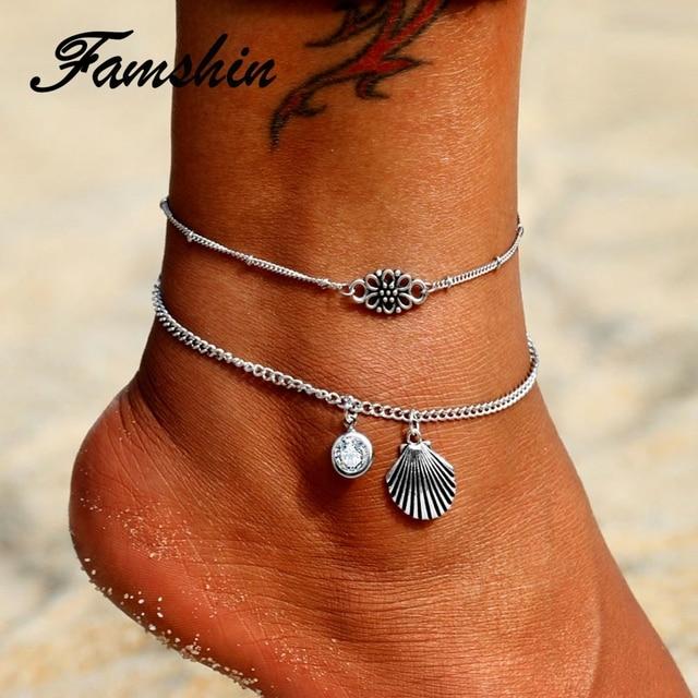 Joyería de tobillera de mujer con cadena de cintura de pie en capas con colgante de concha de cristal geométrico de playa de plata Vintage de famshinh