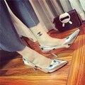 2016 женщины каблук туфли топ дизайнер летняя мода указал носок обуви для Женщин насосы туфли-Дамы sexy Party свадебные обуви