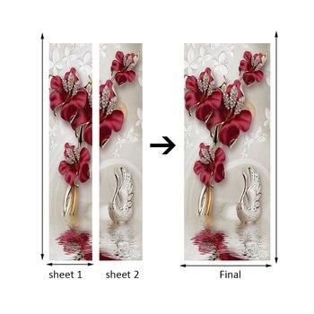 สีแดงดอกไม้ผีเสื้อเครื่องประดับ 3D ประตูสติ๊กเกอร์ตกแต่งบ้านห้องนอนห้องนอนตกแต่งสติ๊กเกอ...