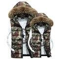 Homens Sem Mangas Jaqueta de Camuflagem Casual Fur Colete Com Capuz de Algodão Acolchoado Casaco de Inverno Soprador Colete Plus Size Vestuário dos homens 3XL