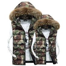 Men Sleeveless Jacket Camouflage Casual Fur Hooded Vest Cotton Padded Winter Coat Puffer Waistcoat Plus Size 3XL Men's Clothing