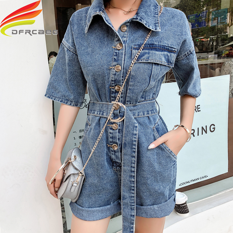 Women Denim Jumpsuit And Playsuits Latest Style Fashion Overalls Loose Streetwear Women Clothes 2019 Jean Jumpsuit With Belt