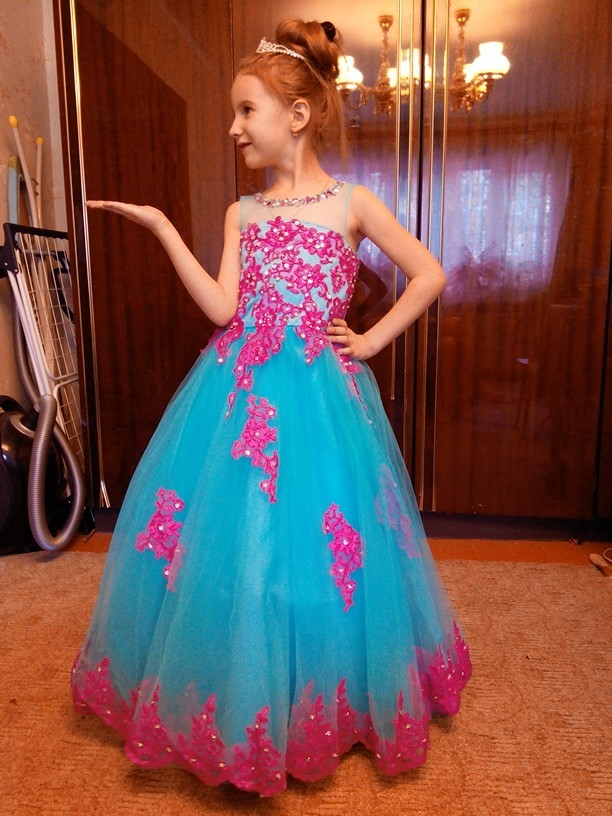 где купить 2016 Girls Pageant Dresses Baby Girl Wedding Ball Gown Stage Performance Long Princess Party Dress Flower Girls Dress дешево