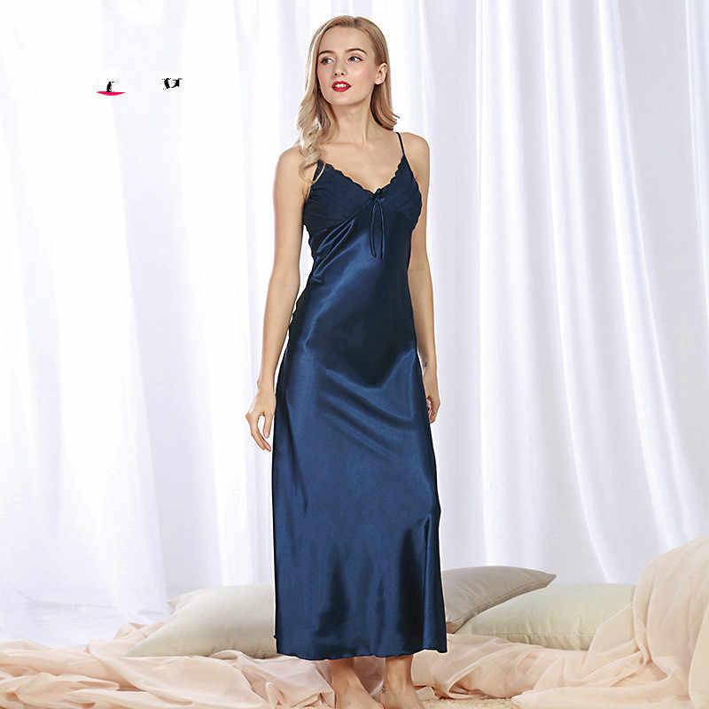 a34d828f99b4 Sexy Elegant Vintage Long Black Blue Silk Satin Nightgowns Women Night Wear  Slip Sleeping Dress Nightwear
