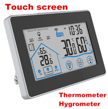 Big discount LCD Weather Station Touch screen Indoor Outdoor Temperature Humidity Meter Sensor Thermometer Hygrometer Clock 40% off