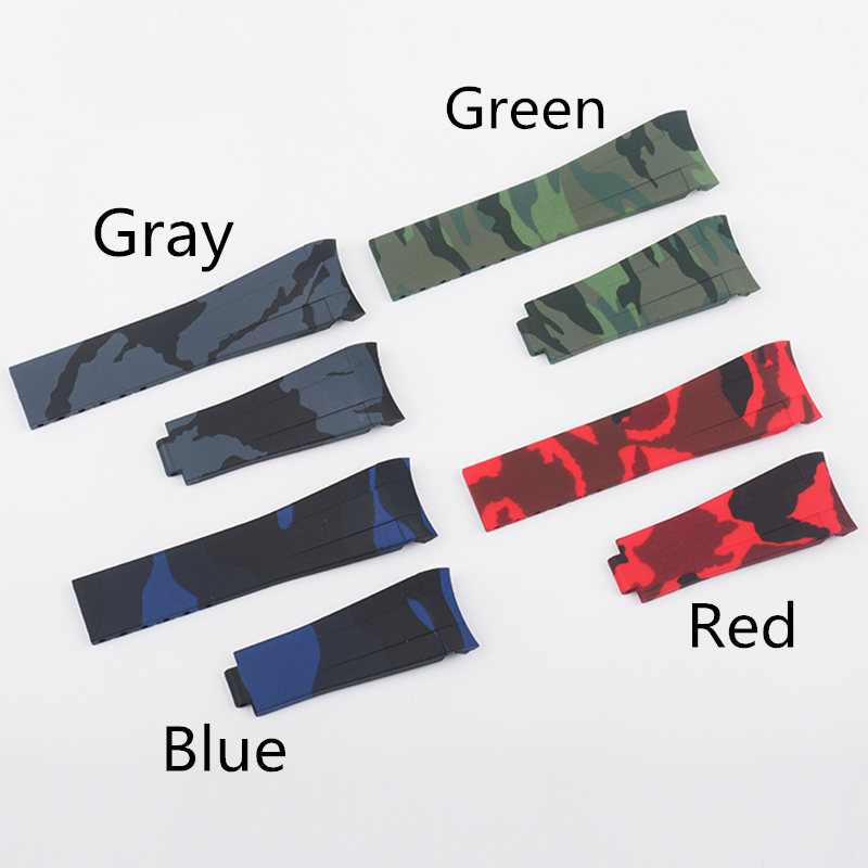 TJP 20mm RB Camo Blue Red Gray Mens Rubber Watch Band Strap with Frosted Deployment Clasp