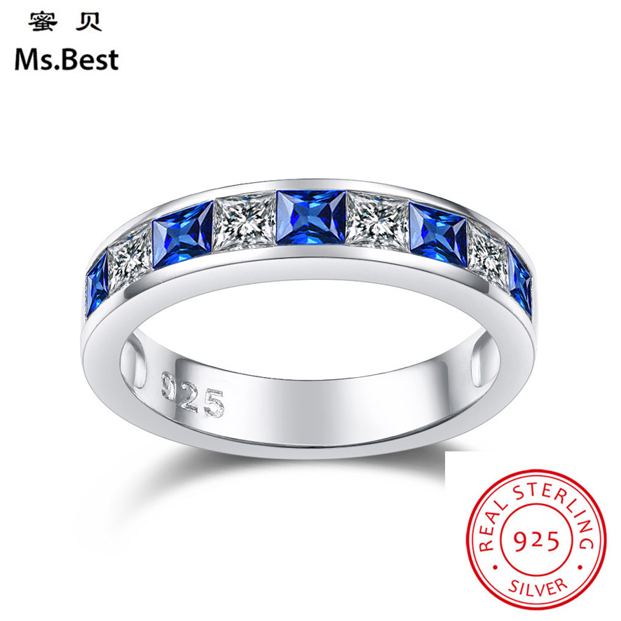 Blue Sapphire Wedding Band Women Ring Fine White Gold Coated On Solid S925 Sterling Silver Marriage Gifts For Girls Wife Friends