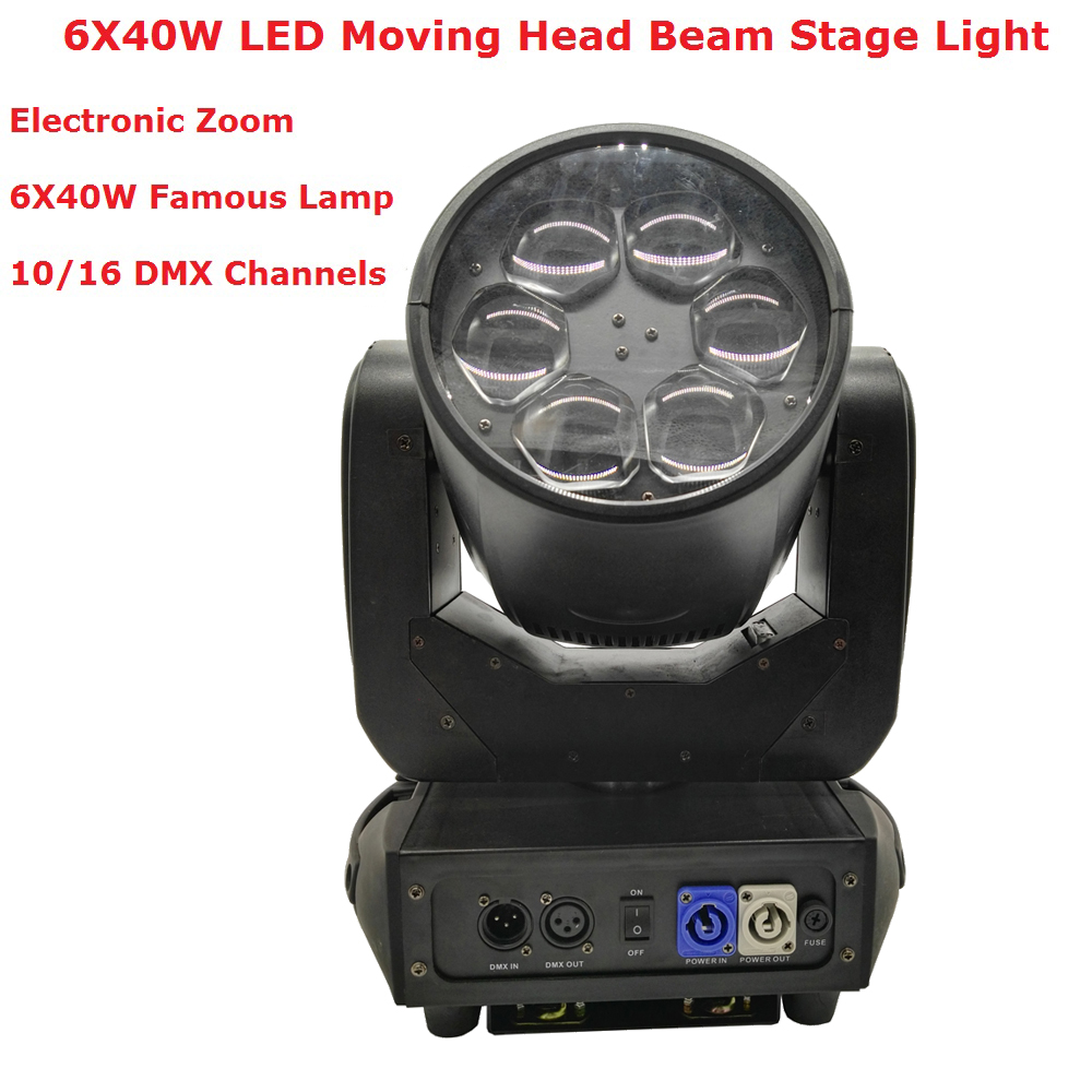 Գործարանի գին 1 հատ / շատ լեդի Մեղուների աչքեր Շարժվող գլխի լույսեր Բարձրորակ 6X40W RGBW 4IN1 LED շարժվող ղեկավար բեմի թեթև անվճար առաքում
