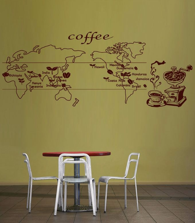 Coffee world map food decal cafe poster vinyl sticker art wall decals pegatina quadro parede decor mural coffee sticker in wall stickers from home garden