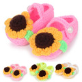 Crochet Pattern Sunflower Baby Booties Socks Newborn Shoes Little Girl Ballerina First Walkers Slippers 5 Pairs XZ044