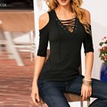 Plus Size Summer T Shirt Women 2016 Fashion Sexy Off Shoulder Front Lace Up Half Sleeve Gradient Casual Loose Tops Tee