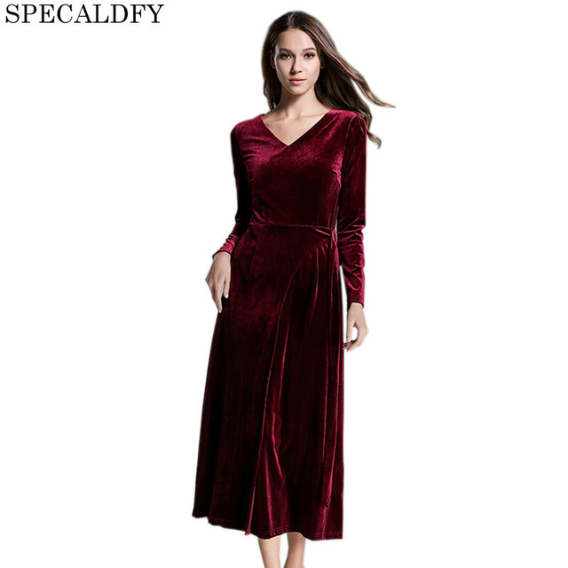 213dfeeaf2c5 2018 European Fashion Winter Red Velvet Dress Women Long Sleeve Deep V-Neck  Long Maxi Dresses Party Vintage Vestidos Robe Femme