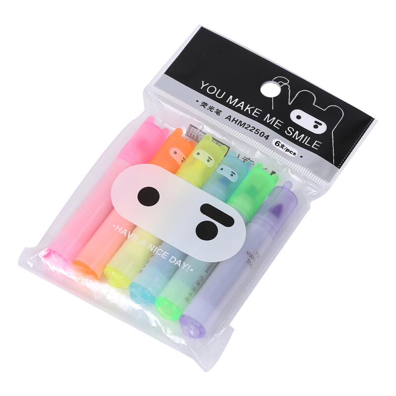 6PCS/Set Rabbit Mini Highlighter Pen Marker Pens Kawaii Stationery Material Escolar Papelaria Writing School Supplies